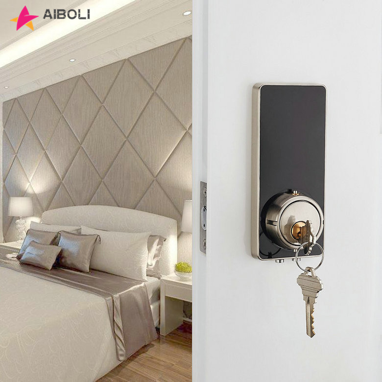 AIBOLI Card digital Smart lock touch screen lights up black electronic door lock  Mechanical key stainless steel smart door lock
