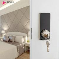 AIBOLI Card digital Smart lock touch screen lights up black electronic door lock Mechanical key stainless steel smart door lock
