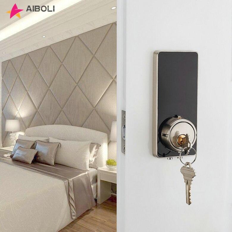 AIBOLI digitale Smart lock touchscreen leuchtet schwarz elektronische türschloss Mechanische schlüssel edelstahl smart türschloss
