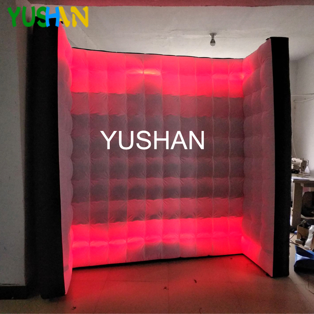 8ft white&black Curve LED Inflatable Photo booth Wall Backdrop 2pcs Strips with Inner Air blower Wall stand For Christmas party