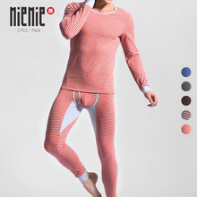 Купить с кэшбэком 2 Set Men's Cotton Thermal Underwear Striped Long Johns Warm O-Neck Undershirts Elastic Sleepwear Pajamas Winter Autumn