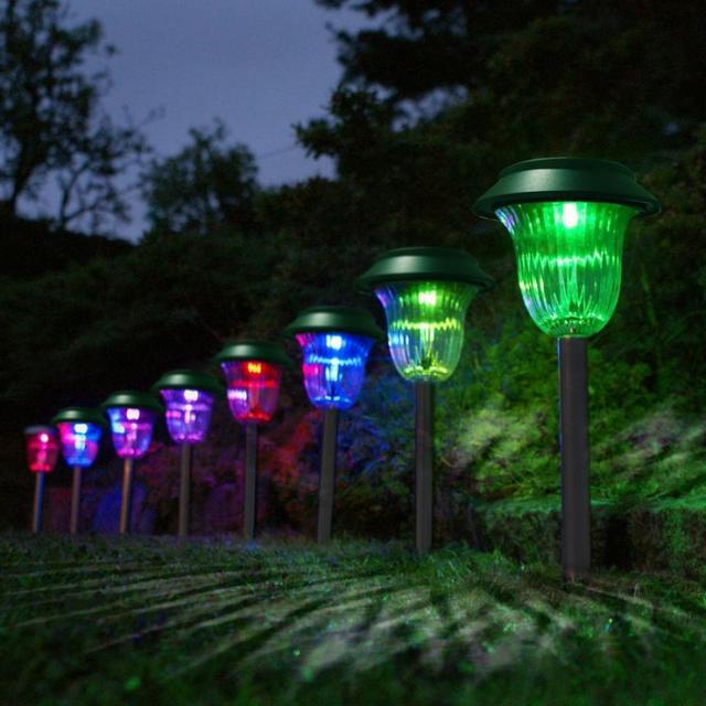 Discolor Solar Plastic Garden Lawn Lamp Plug Led Light Pathway Automatically Decoration Lighting