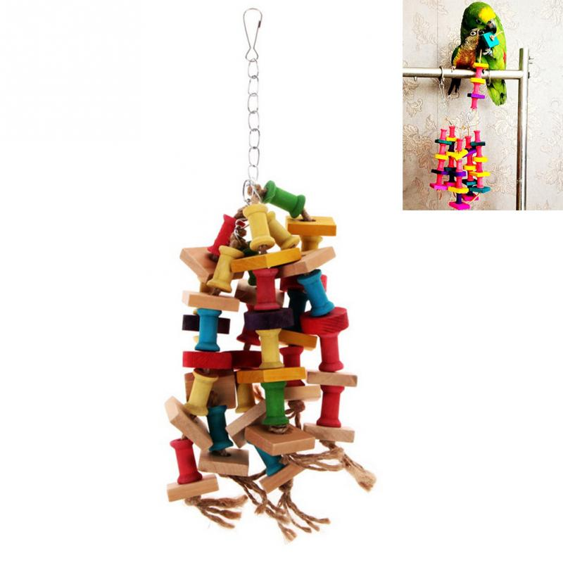 Special Design Colorful Wood Parrot Toys Durable Macaw Cage Chew Bird Toys For Parrots Pet Bird Conure Swing Scratcher