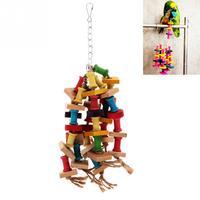Specjalna konstrukcja kolorowe drewniane zabawki dla papug trwała klatka ara Chew Bird zabawki dla papug Pet Bird Conure Swing Scratcher