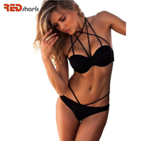 2016 New Hot Sexy Woman Retro Halter Bikinis Set Beachwear Swimsuit Push Up Bathing Suit Swimwear
