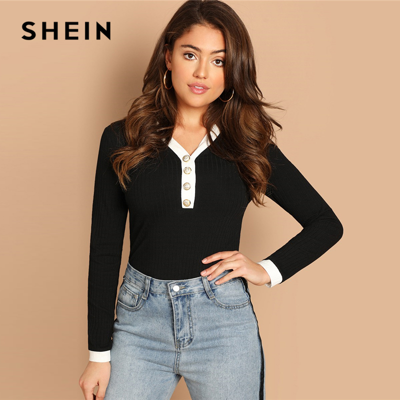 Shein Black Contrast Buttoned V Neck Ribbed T Shirt Long -8050