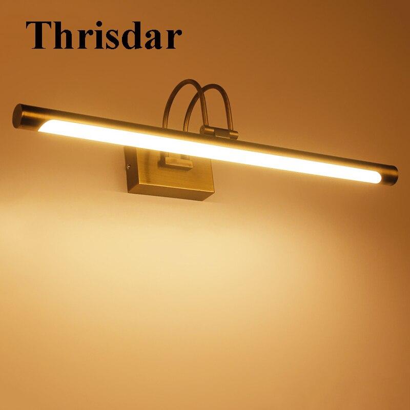 купить Thrisdar Nordic Bathroom Mirror Walll Light Modern Bronze Dressing Table Vanity Mirror Cabinet Light Corridor Aisle Wall Lamp недорого
