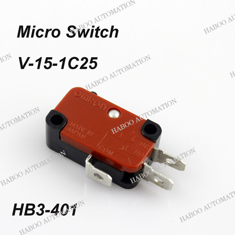 10PCS/lot HABOO mini V-15-1C25 micro switch 3pins momentary limit switch push button micro switch shipping free