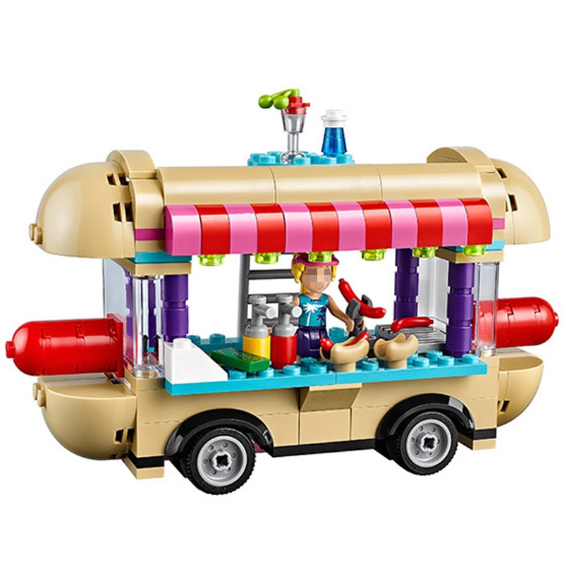 Diy 249pcs Building Blocks Amusement Park Hot Dog Van Bricks Figure Toys for Girls Compatible with Legoingly Birthday Gifts
