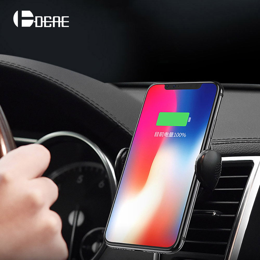 DCAE Car Holder For iPhone X 8 Qi Wireless Charger Quick Charge For Samsung S9 S8 Plus Phone Holder Stand Fast Wireless Charging
