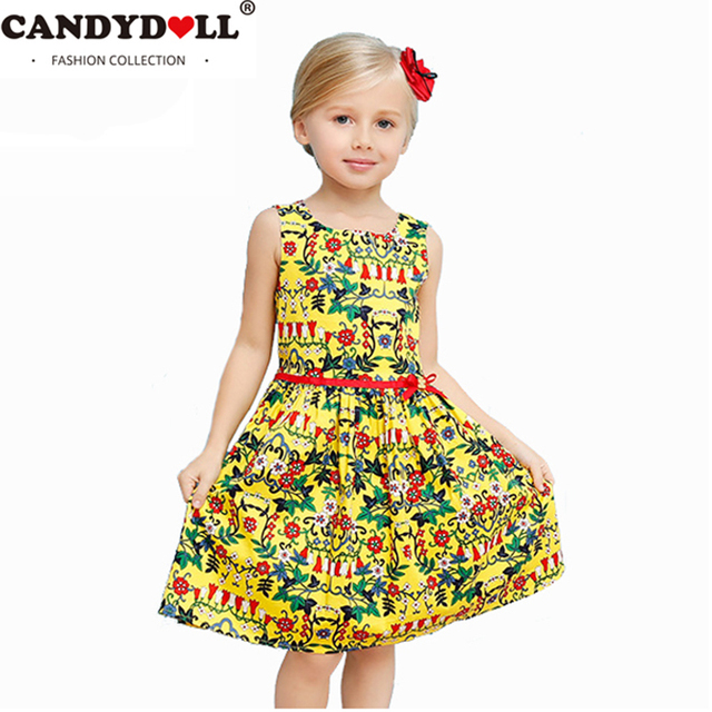 0f5e1298280a 2018 summer Girls Dress kids cotton princess print sleeveless Ball Gown  vestido children vest Beach clothes for kid