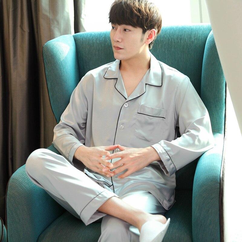 Frugal 2019 Summer Pyjamas Striped Full Sleeves Full Long Pants Pajama Set High Quality Satin Silk Sleepwear Men Pajamas Men's Sleep & Lounge