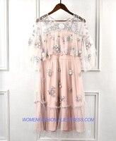 Высококачественное летнее платье в стиле «Бохо» с оборками, Сетчатое платье для женщин 2018, подиумная Цветочная вышивка, женские вечерние пл