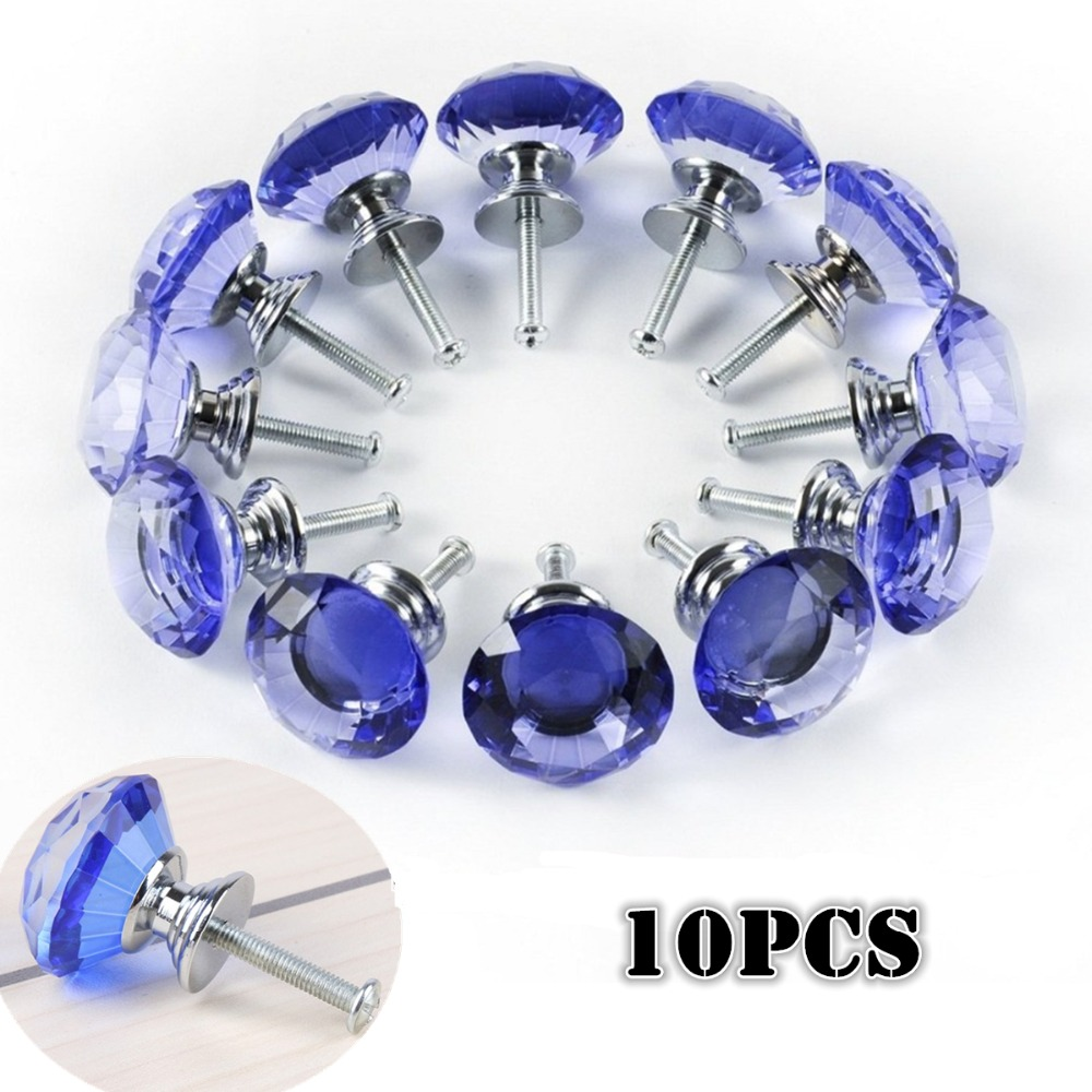 10PCS/Set Blue Diamond Wardrobe Cabinet Cupboard Wardrobe Drawer Door Handles Crystal Glass 30mm Pulls Knobs Kitchen Accessories 10 pcs 30mm diamond shape crystal glass drawer cabinet knobs and pull handles kitchen door wardrobe hardware accessories
