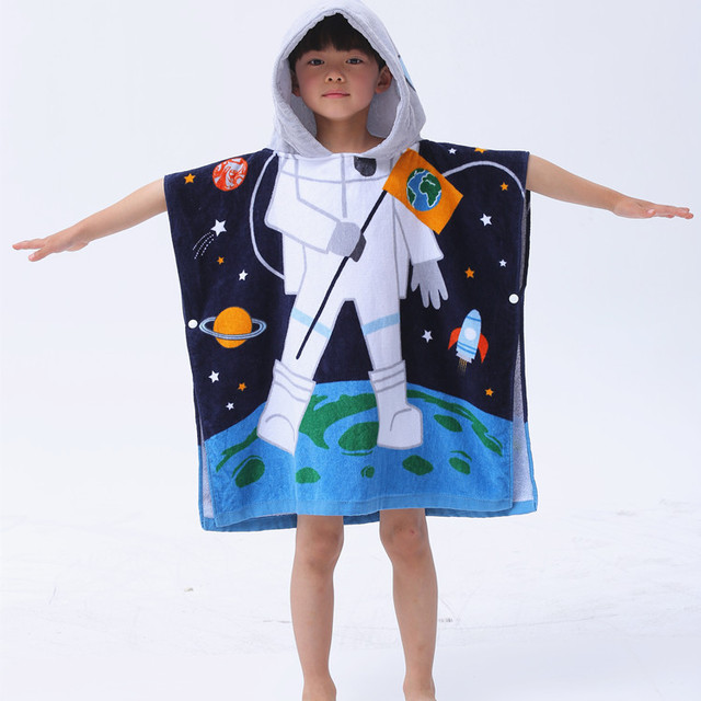 New Astronaut Mermaid Shark Cotton Beach Towel Baby Children Hooded Poncho  Boys Girls Cartoon Bathrobe Bath Towel swimming shawl 61e06588a