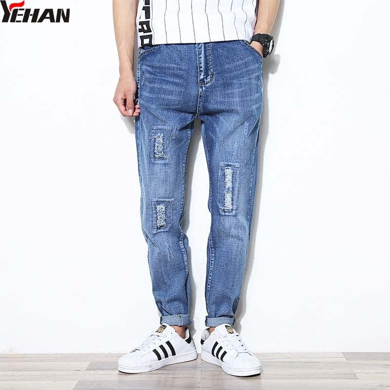 Fashion Ripped Jeans For Men Plus Size Baggy Jeans Stretch Jeans Hombre Hip Hop Hole jeans Loose Harem Pants Pencil Pant клавиатура asus strix tactic pro cherry mx black black usb 90yh0081 b2ra00