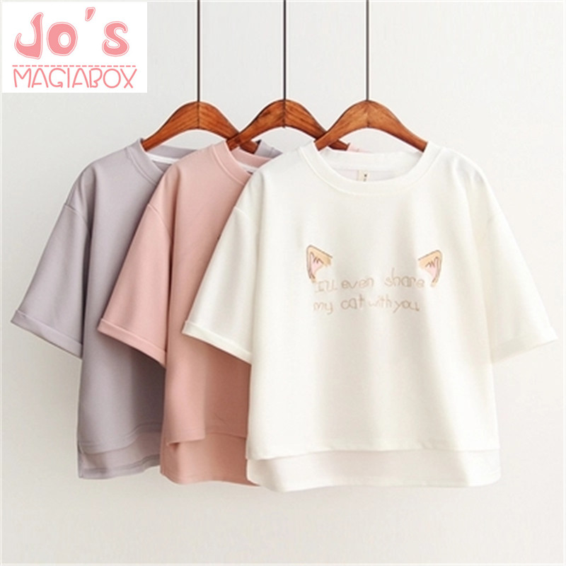 2018 Summer Women Impreso Harajuku Cartoon Cat T Shirts Letter Embroidery Cotton Short Sleeve Casual Tee Ladies Hot Top DX619