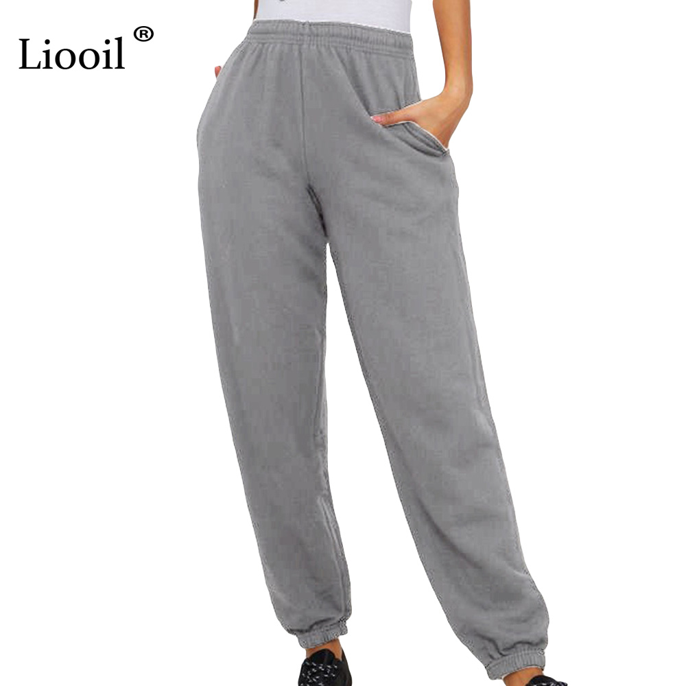 Liooil Casual Loose Pants Women Clothes 2019 Spring Summer Fashionable High Waist Pantaloons Sports Pants Female Harem Trousers