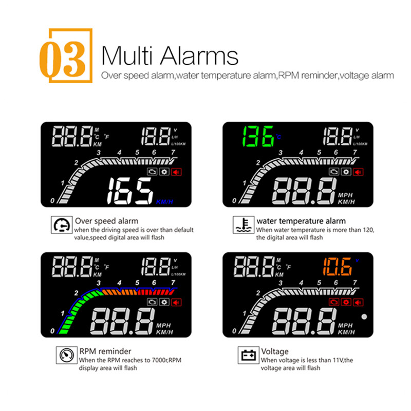 Image 3 - GEYUREN A100s T100 OBD car hud head up head up display 2019 temperature gauge obd Overspeed Warning System Projector Windshield-in Head-up Display from Automobiles & Motorcycles
