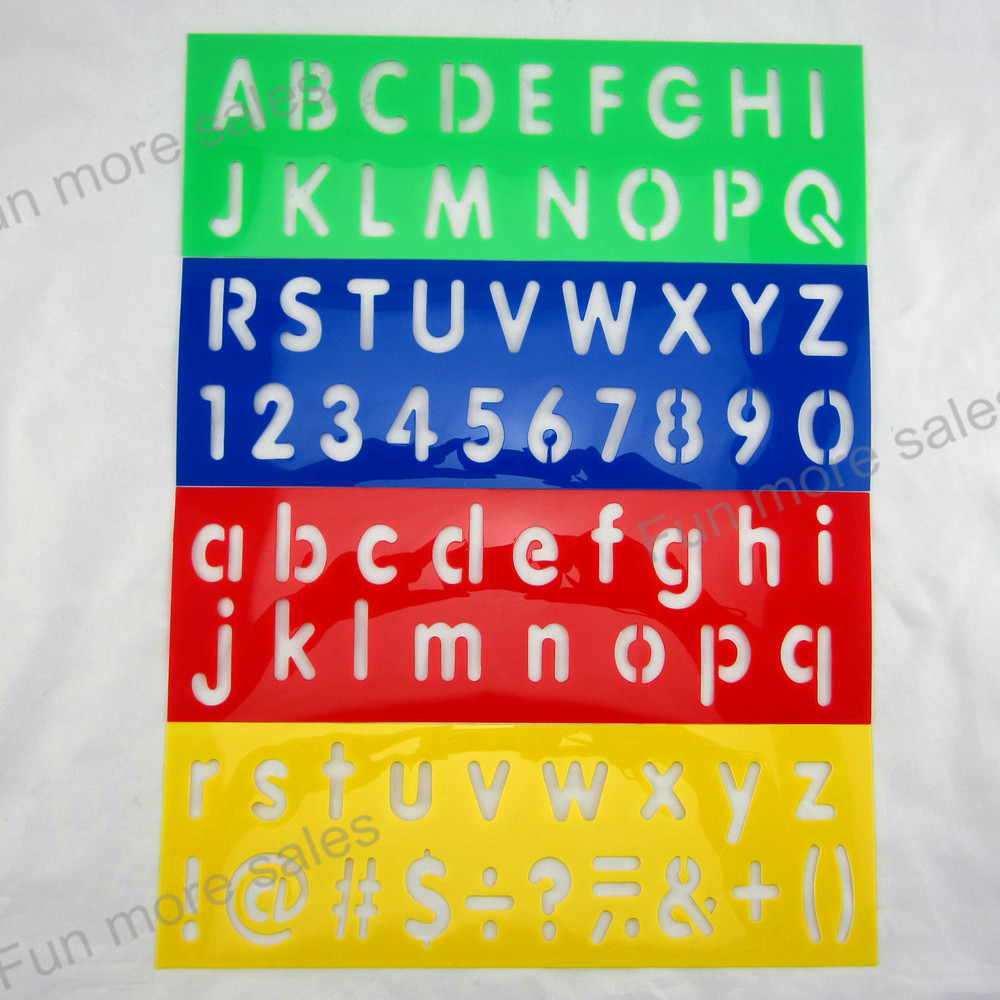 4Designs Set Stencils For Painting Kids Digital Number Drawing Templates Plastic English Letters Boards Baby Hot Toys 305x102mm