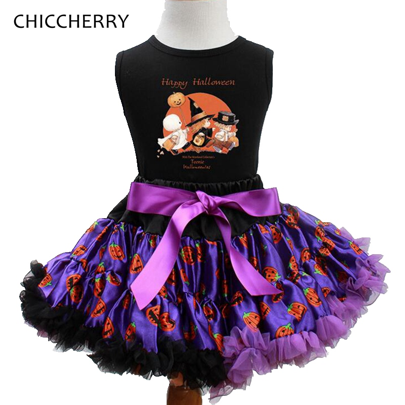 Happy Halloween Costume For Baby Girl Tops + Lace Tutu Skirt Kids Clothes Sets Toddler Girls Halloween Outfits Children Clothing 2pcs skirt set 2016 wholesale baby girls cartoon short sleeve tops lace cute tutu skirt for 0 4y baby girl