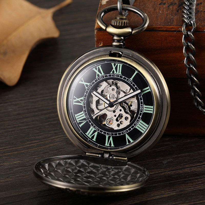 Bronze Steampunk Green Roman Numerals Mechanical Pocket Watch With Chain Vintage Hand Wind Pocket Fob Watch For Women Men