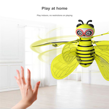 Animal bee Electric Flying RC Sensor Bee Infrared Induction Mini Aircraft LED Light Fun Toys Kids Flying Safety manual hand toy 1