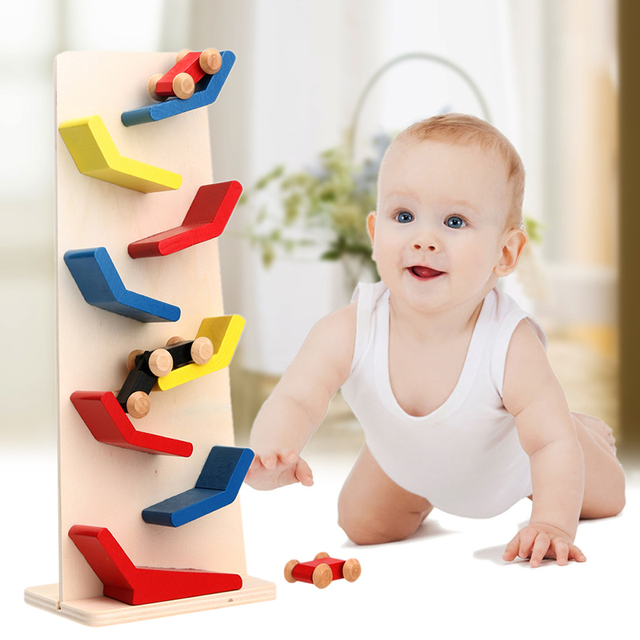 Wooden Demountable Slider Car 9 Zigzag Ladder Small Pulley Building Block Racing Wooden Cars Click Clack Track Drop Glide Toy