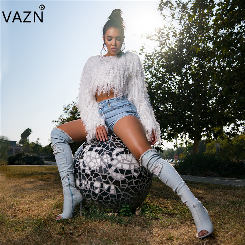 VAZN Autumn 2018 High Quality Temperate Fashion Women Outwear Solid O-Neck Full Sleeve Lady Loose Mini Knit Outwears ZSC031