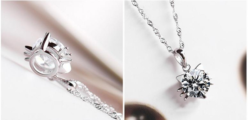 TJP Cute Cat Pendants Necklace For Women Party Jewelry Fashion Silver 925 Choker Necklace Trendy Crystal Purple Girl Accessories in Pendant Necklaces from Jewelry Accessories