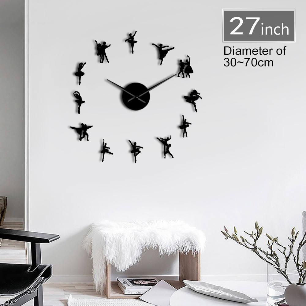 Ballet Dancing Large DIY Wall Clock Lover Dancer Frameless Big Wall Clock Sticker Mordern Personalized Cool Living Room Decor