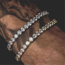 Hip Hop Bling Iced Out Cubic Zirconia Bracelet Tennis Chain Bracelets Rhinestone Women Men 1 Row CZ Link Chain Jewelry Gold(China)