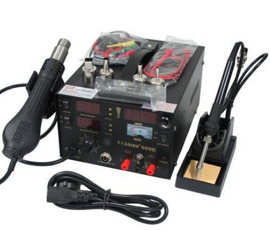 high quality genuine saike 909D hot air gun rework station with Soldering station power 3 in1 220V or 110V 700W Send Free gifts-in Electric Soldering Irons from Tools    2