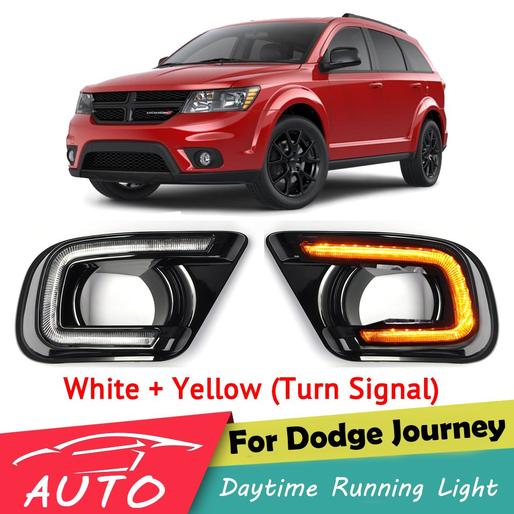 DRL For Dodge Journey Fiat Freemont 2013 2014 2015 2016 LED Car Daytime Running Light Fog Day Lamp With Turn Signal