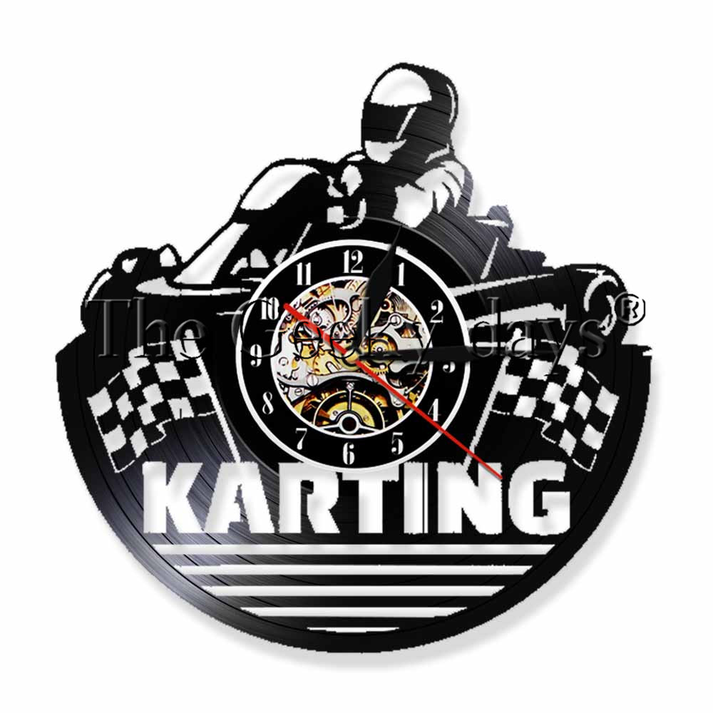 1Piece Karting Racing Vinyl Record Wall Clock Sport Vinyl Record LP Wall Watch Hanging Crazy Game Time LED Light Wall Art Decor