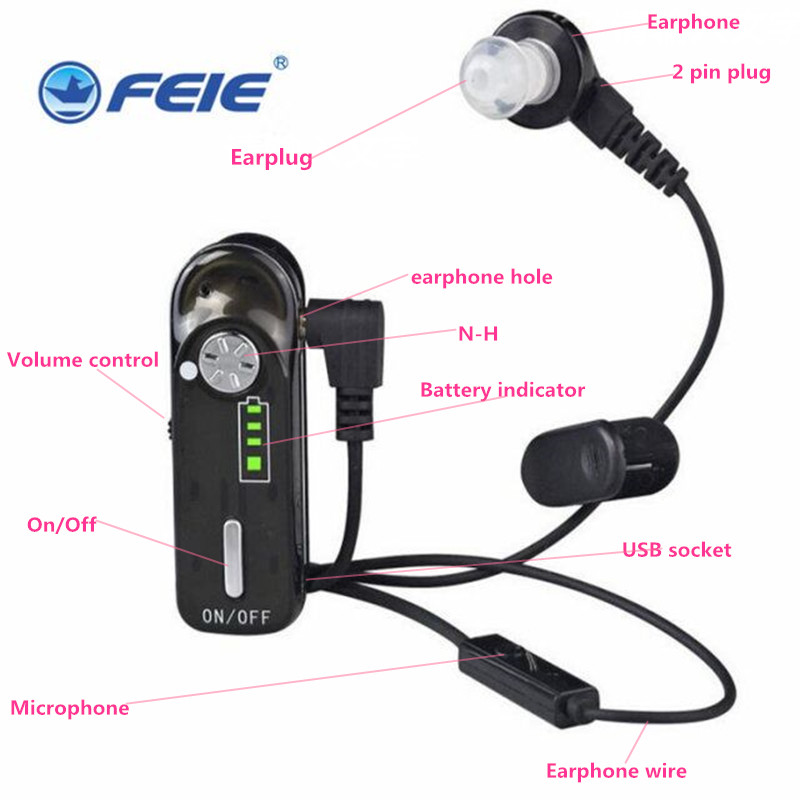 Spy Listening Device Recharegable Fashionable Hearing Aid Earphone C-06 For Medical Sale Free Shipping