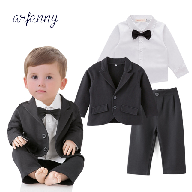 50089529dba0 Baby Boys Clothes Fashion infant Wedding birthday clothing Baby Suit  Gentleman Bow Tie shirt + coat