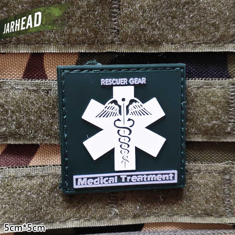 Ratownik zbawiciela pomocy medycznej wojskowe plastry PVC na rzep gumowa opaska na ramię taktyczne odznaka osobowość na plecak kapelusz ubrania