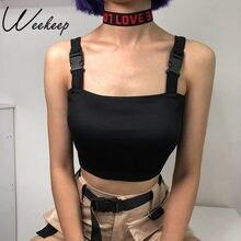Weekeep-Camiseta sin mangas negra con hebilla ajustable para mujer, ropa de calle corta de verano, camisetas sin mangas con espalda descubierta sexys, 2018