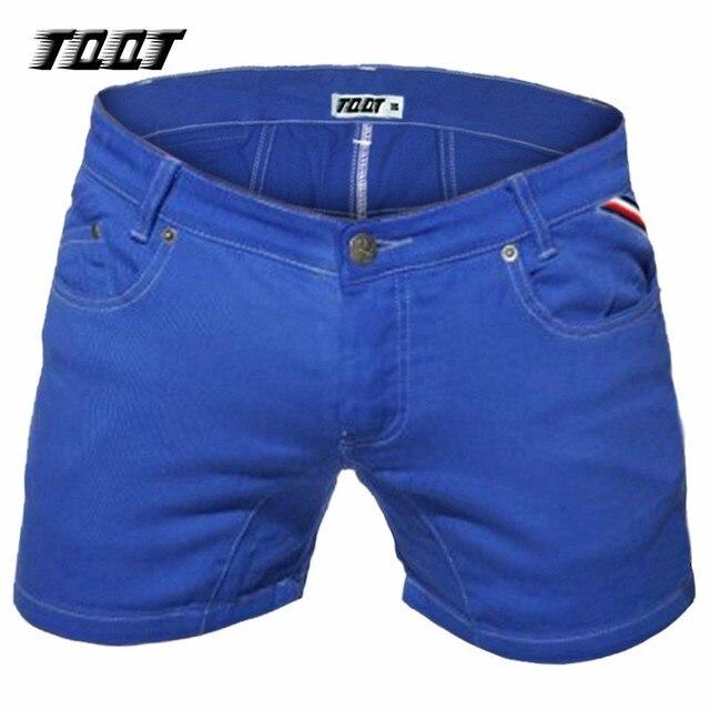 ef81a1aa3 TQQT pantalones cortos de mezclilla para hombre de medio peso con  cremallera corta lavada Vintage Bermuda