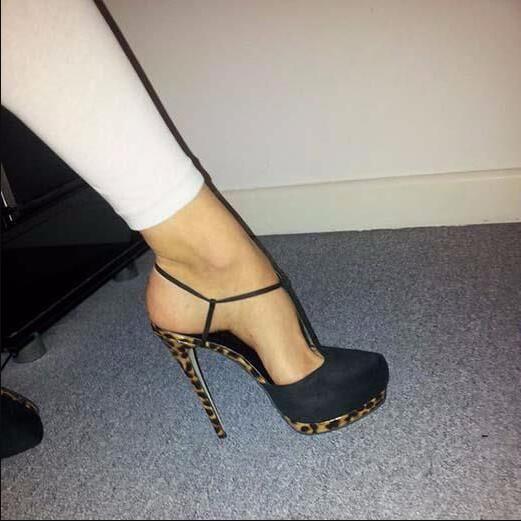 Concise Elegante T Strap Salto Alto Bombas Dedo Do Pé Redondo Plataforma Vestido Sapatos Aumento da Altura do Tornozelo Fivela T Bar Sexy Preto calçado - 4