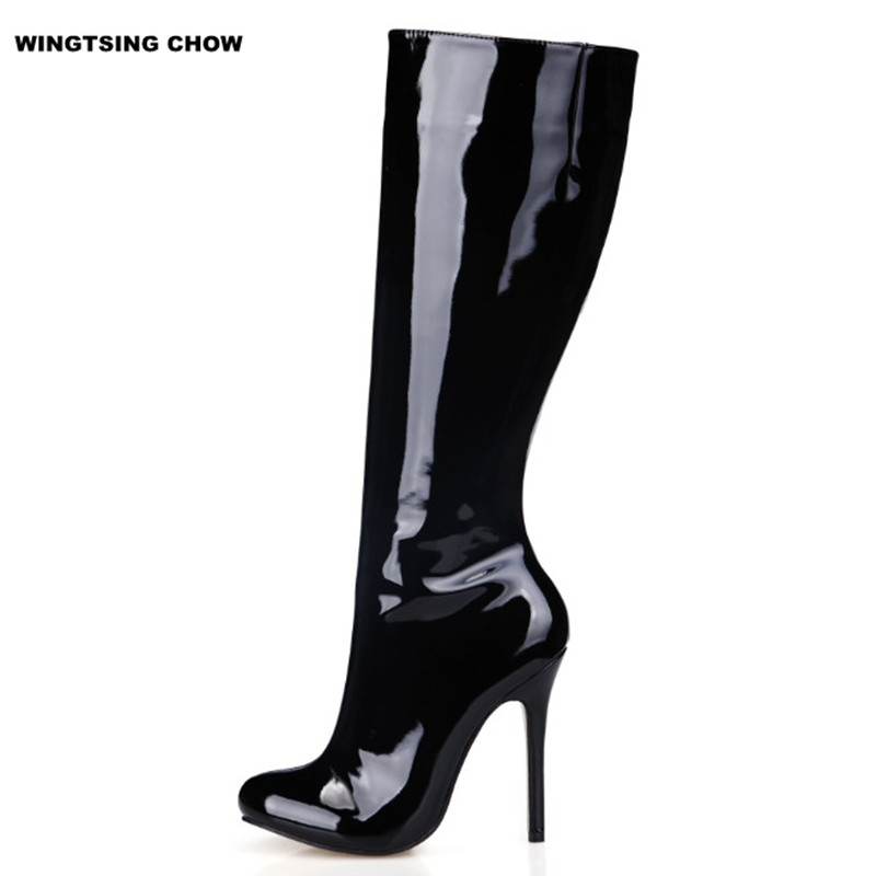 Autumn Knee High Boots High Heels Patent Leather Shoes Women Boots Thin Heel Ladies Boots Boots Free Shipping Autumn Have Low patent leather knee high fashion women boots buckle strap cool motorcycle boots thin high heels cut outs sandals boots shoes