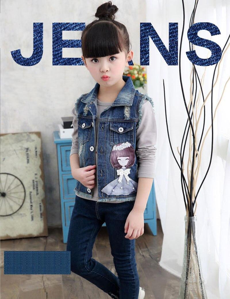 Без рукавов для девочек джинсовые куртки для детей мультфильм девушка украшения На возраст от 2-10 л. Детская жилетка джинсовые пальто с декоративными вставками для девочек джинсовый жилет