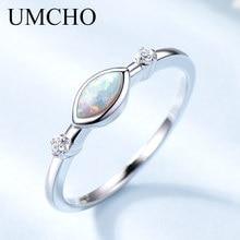 UMCHO Bröllop Band Opal Ringar Med Cubic Zircon Silver Smycken 925 Sterling Silver Ringar För Kvinnor Färgglada Ädelstenar