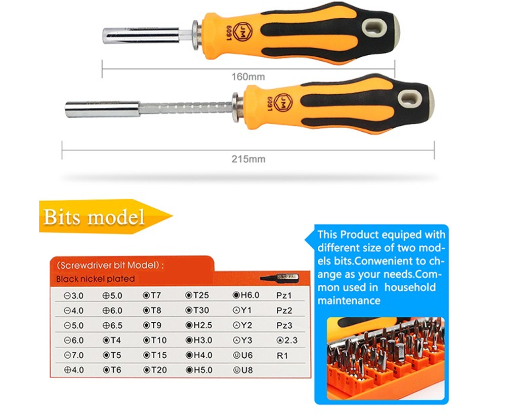 Jakemy jm 6091 hardware maintenance repair opening tools torx hex y u pz slotted phillips screwdriver bits precision magnetic in screwdriver from home