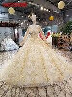 HSDYQHOME Роскошные Часовня Поезд Вечерние платья Удивительные Золотые Аппликации платья выпускного вечера цветка Vestidos Аппликации вечернее ве