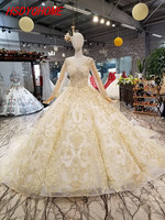 HSDYQHOME Luxury Chapel Train Evening dresses Amazing Gold Appliques Prom Dresses Flower Vestidos Appliques Evening party gown