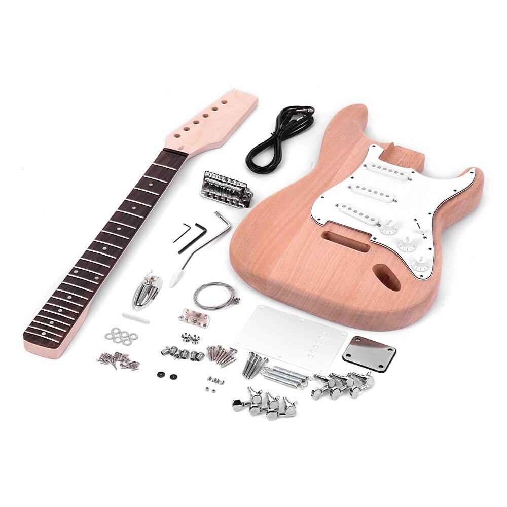 Muslady ST стиль Незаконченный для сборки электрогитары комплект красное дерево тела Кленовая насадка для гитары палисандр гриф