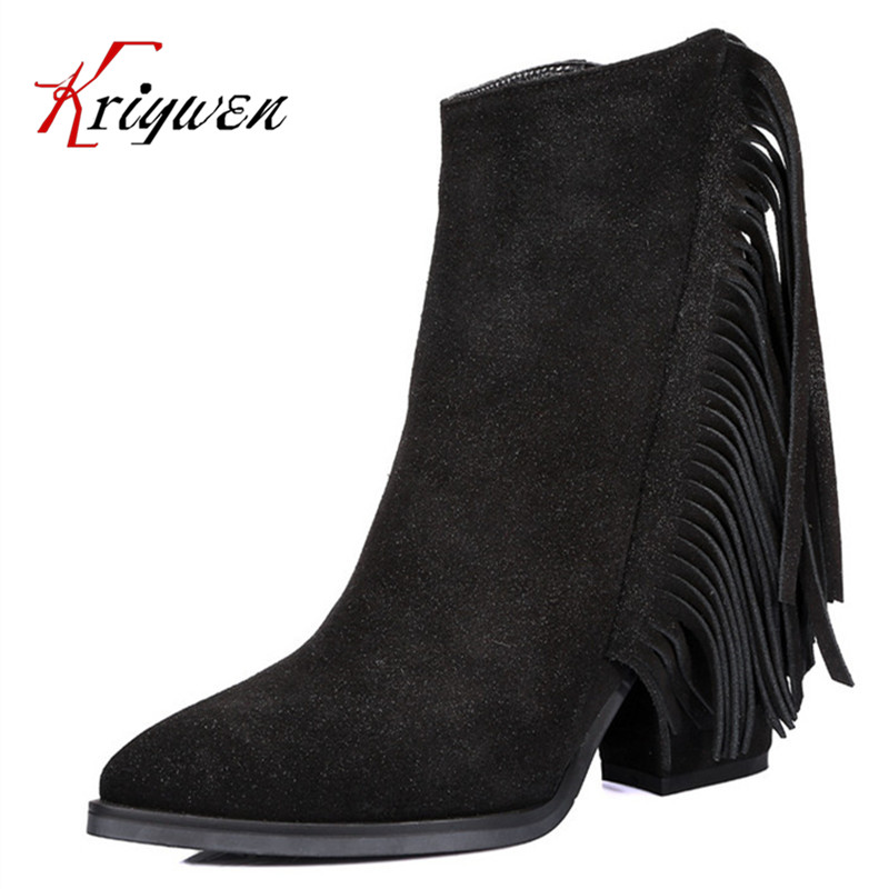 100% Split leather spring and autumn martin boots 8cm high heels shoes tassel sweet girls shoes womens ankle zipper boots