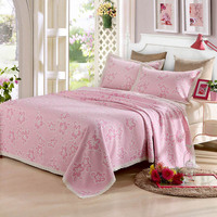 3pc Luxury Bedspread Coverlet Yarn Dyed Jacquard Linen Cotton Blend FabricBed Cover Pillowcase Solid Over Size Full king queen